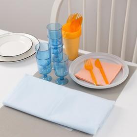 Набор одноразовой посуды Доляна «На природу», 6 персон, скатерть, тарелки, стаканы 200 мл, рюмки 100 мл, вилки, ножи, салфетки