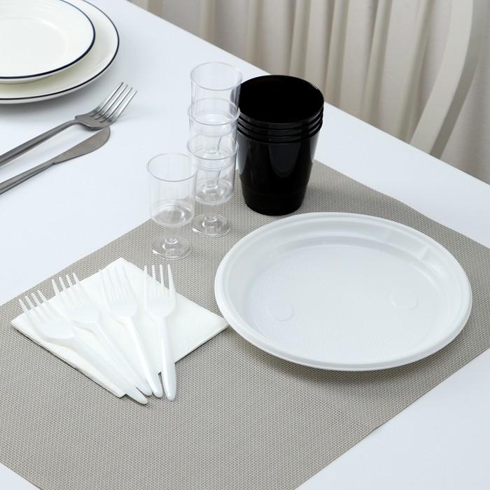 Набор одноразовой посуды премиум Доляна «Фуршет», 4 персоны, тарелки, вилки, стаканы 200 мл, рюмки 100 мл, салфетки