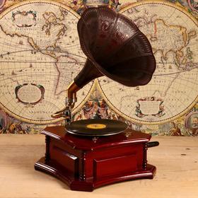 """Граммофон труба металл """"Батиста"""" (пластинка в комплекте) 40х40х63,5 см"""
