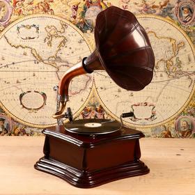 """Граммофон труба латунь """"Гаспаро"""" (пластинка в комплекте) 38х38х69 см"""