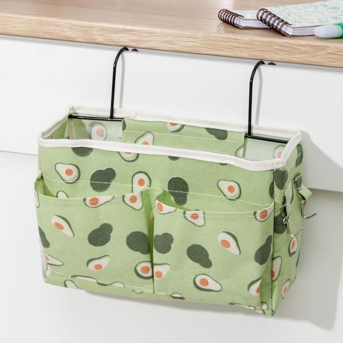 Органайзер с карманами «Авокадо», подвесной, 3 отделения, 30×10×20 см, цвет зелёный