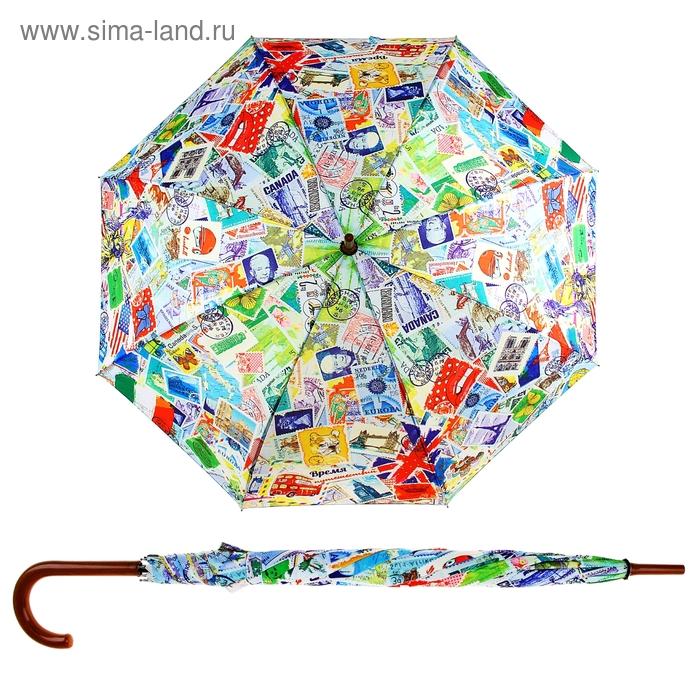 """Зонт-трость """"Время путешествий"""", d = 106 см, 8 спиц"""