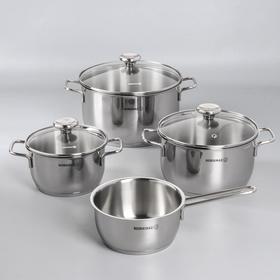 Набор посуды Aroma, 4 предмета: кастрюля 2 л, 3,7 л, 6,3 л; сотейник, 1,5 л