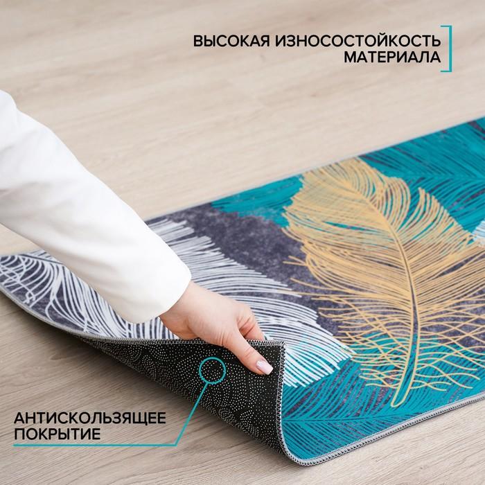 Набор ковриков для ванны и туалета Доляна «Перышки», 2 шт: 50×80, 50×40 см