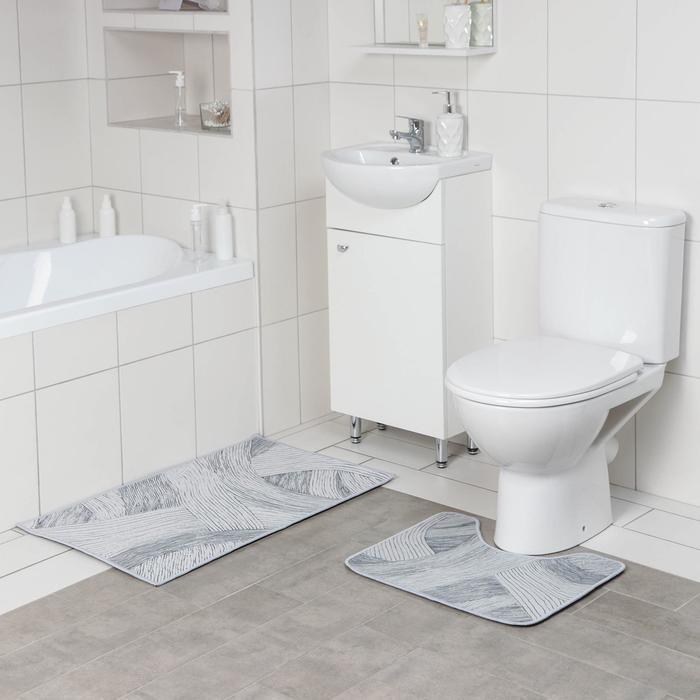 Набор ковриков для ванны и туалета Доляна «Тига», 2 шт: 50×80, 50×40 см