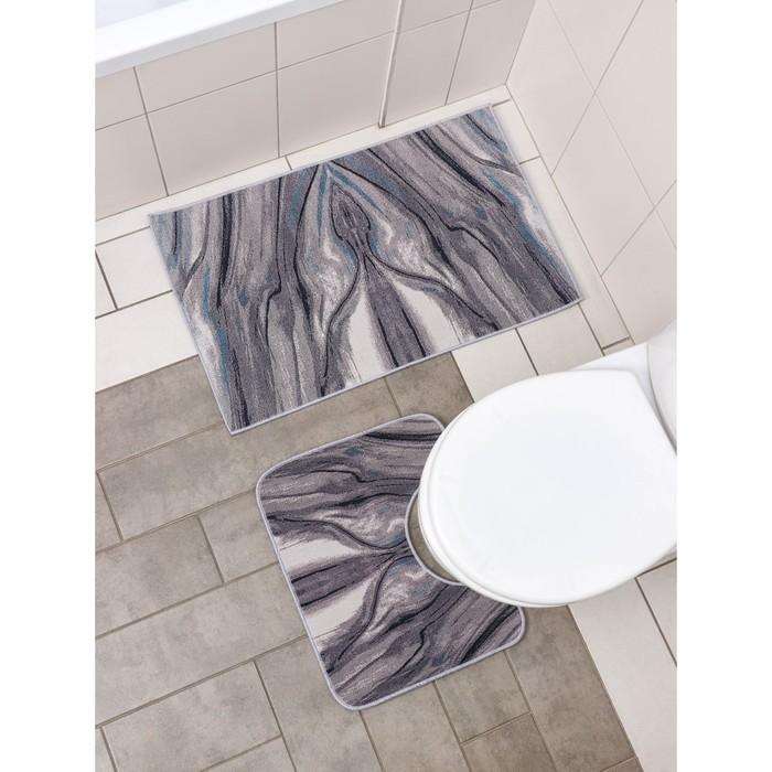 Набор ковриков для ванны и туалета Доляна «Отражение», 2 шт: 50×80, 50×40 см
