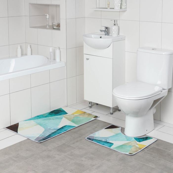 Набор ковриков для ванны и туалета Доляна «Эмоции», 2 шт: 50×80, 50×40 см