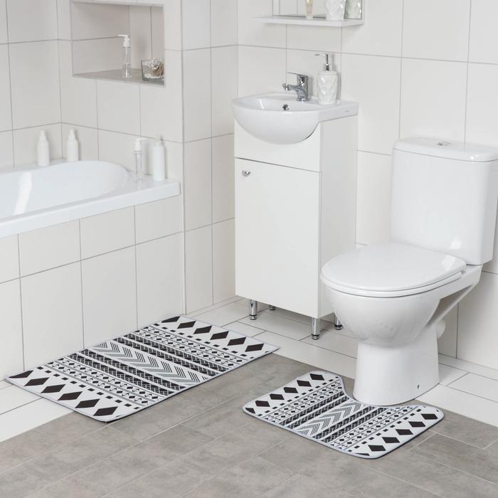 Набор ковриков для ванны и туалета Доляна «ЧБ», 2 шт: 50×80, 50×40 см