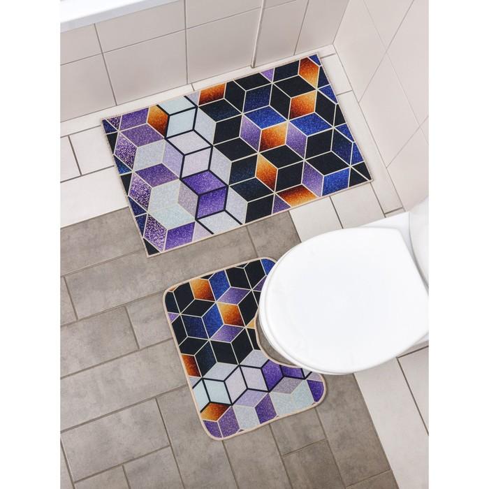 Набор ковриков для ванны и туалета Доляна «Бурлеск», 2 шт: 50×80, 50×40 см