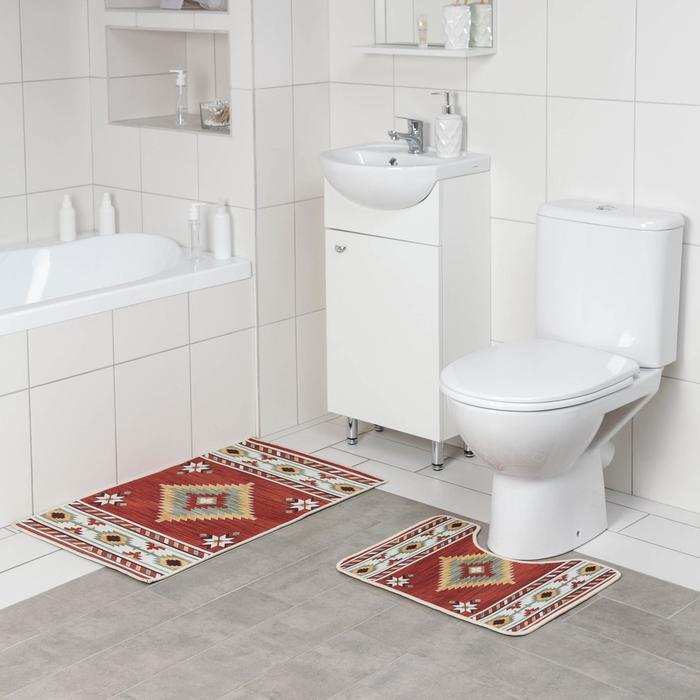 Набор ковриков для ванны и туалета Доляна «Мира», 2 шт: 50×80, 50×40 см
