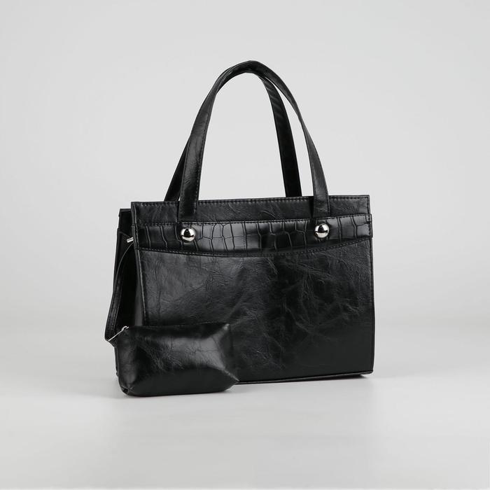 Сумка тоут, отдел на молнии, наружный карман, с косметичкой, цвет чёрный - фото 3127503
