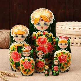 """Матрёшка """"Поднос с розами"""", зелезеленый платок, 7 кукольная, 21 см"""
