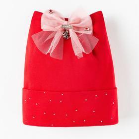 Шапка для девочки, цвет красный, размер 54-56 (6-8 лет)