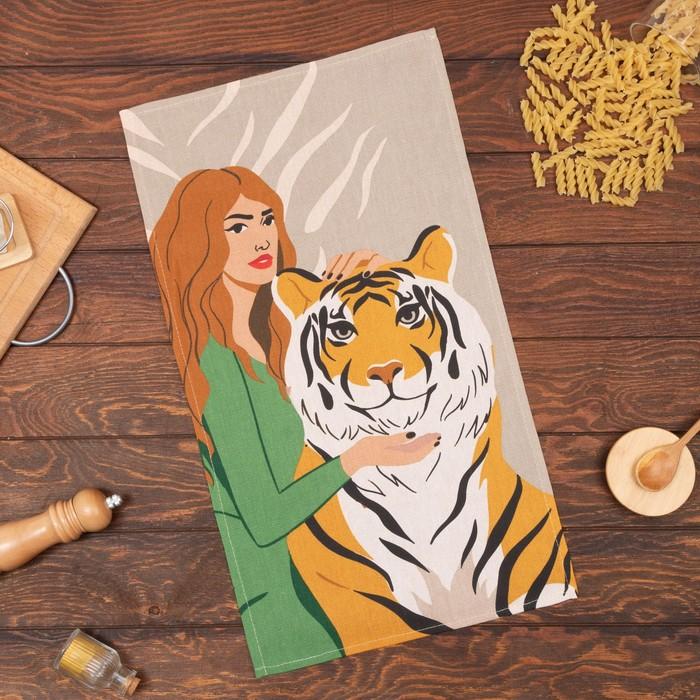 "Полотенце ""Доляна"" Girl and tiger 35х60 см,100% хлопок 160 г/м2"