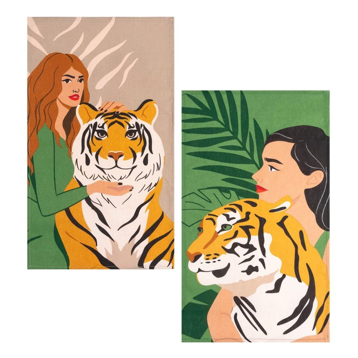 Набор кухонных полотенец Доляна Girl and tiger 35х60 см-2шт., 100% хлопок, 160 г/м2