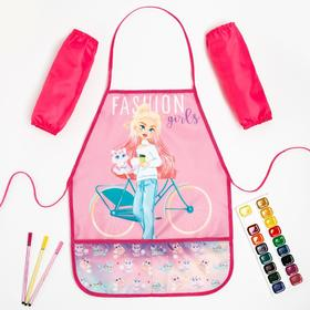 Набор детский для творчества Collorista Fashion girl фартук 49 х 39 см и нарукавники 25 х 8 см