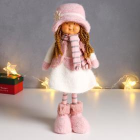 """Кукла интерьерная """"Малышка с хвостиками, в вязанном бело-розовом наряде и шляпке"""" 36,5 см"""