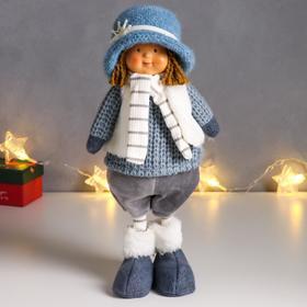 """Кукла интерьерная """"Малыш в вязанном синем наряде и шляпке со снежинкой"""" 36,5 см"""