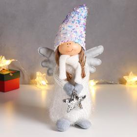 """Кукла интерьерная """"Ангел в серебристом наряде и колпаке с пайетками, со звездой"""" 40х13х14 см   62601"""