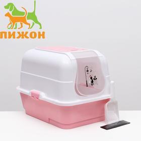 Туалет-домик с выдвижным поддоном, сеткой, совком, порожком, 51,5 х 40 х 38 см, розовый