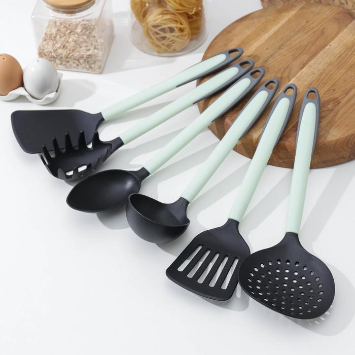 Набор кухонных принадлежностей Доляна «Софти», 6 предметов, цвет МИКС