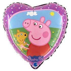 """Шар фольгированный 18"""" «Свинка Пеппа с мишкой», сердце"""