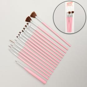 A set of brushes for extension and nail design, 15 pcs, 19 cm, color pink.