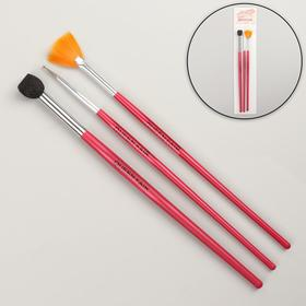 A set of brushes for extension and nail design, 3 pcs, 19 cm, color pink.