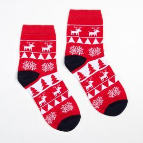Носки детские «Узоры и олени» цвет красный, размер 20-22