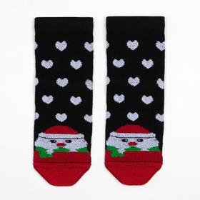 Носки детские «Дед мороз и сердечки», цвет чёрный, размер 16-18