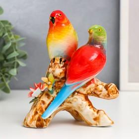 """Сувенир керамика """"2 попугайчика на ветке"""" 13,5х11х6 см"""