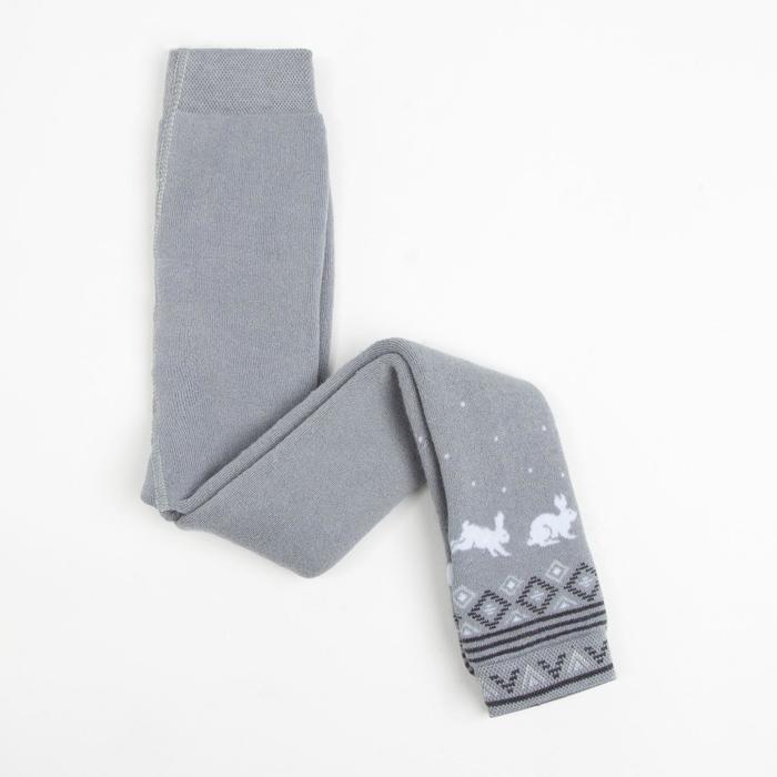 Леггинсы детские махровые, цвет серый, рост 98-104 - фото 3237739