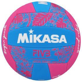 Мяч волейбольный пляжный MIKASA BV354TV-GV-BP, синтетическая кожа (ТПЕ), машинная сшивка, 18 панелей, бутиловая камера, размер 5, цвет синий/розовый