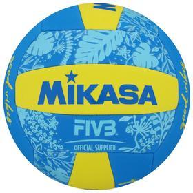 Мяч волейбольный пляжный MIKASA BV354TV-GV-YB, синтетическая кожа (ТПЕ), машинная сшивка, 18 панелей, бутиловая камера, размер 5, цвет жёлтый/синий