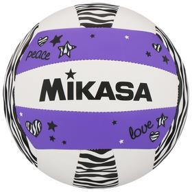 Мяч волейбольный пляжный MIKASA VXS-ZB-PUR, синтетическая кожа (ТПУ), машинная сшивка, размер 5, цвет белый/сиреневый/чёрный