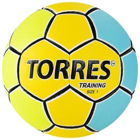 Мяч гандбольный TORRES Training, арт.H32151, ПУ, 4 подкладочных слоя, ручная сшивка, размер 1, цвет жёлтый/голубой