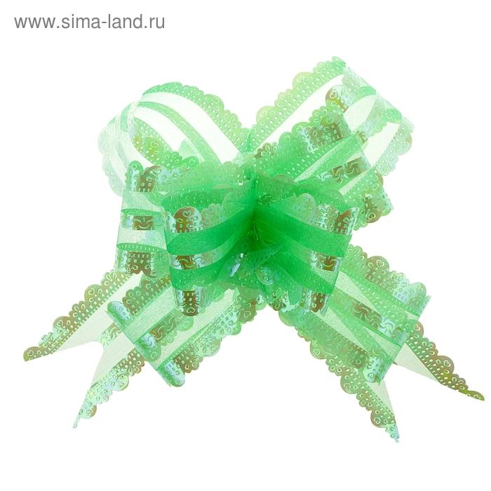 """Бант-бабочка №5 """"Ажур"""", цвет зелёный"""