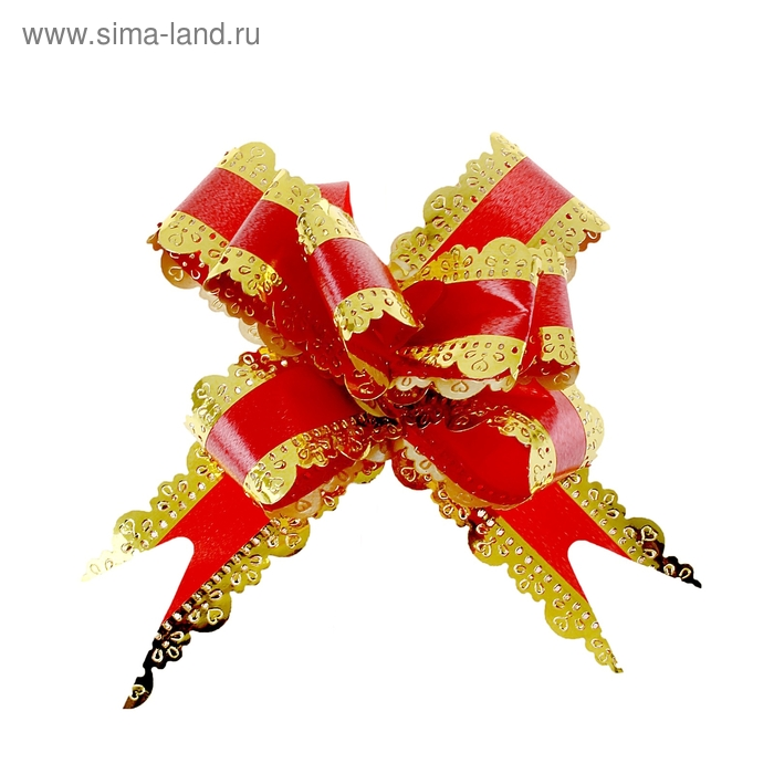 "Бант-бабочка №3 ""Ажур"", цвет красный"