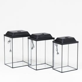 "Комплект аквариумов ""Матрёшка"" с крышками, колонна, 24, 30, 36 л"