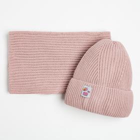 Комплект (шапка,снуд) для девочки, цвет пудра, размер 54-56