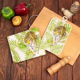 Кухонный набор Тигр в листьях (полотенце 39х60+прихватка 14,5х22), беж, хлопок 100%, 200г/м2
