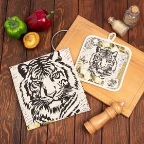 Кухонный набор Тигр винтаж (полотенце 45х60+прихватка 18х18) лен 50%, хл 50%, 160г/м2