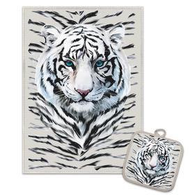 Кухонный набор Снежный тигр (полотенце 45х60+прихватка 18х18) лен 50%, хл 50%, 160г/м2