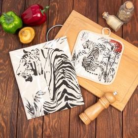 Кухонный набор Тигр Япония (полотенце 45х60+прихватка 18х18) лен 50%, хл 50%, 160г/м2