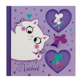 """Записная книжка 105 x 105, 48 листов """"Кошки-мышки"""", твёрдая обложка, глняцевая ламинация, тиснение фольгой"""