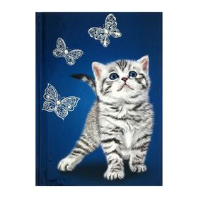 """Записная книжка А6+, 80 листов """"Котёнок"""", твёрдая обложка, тиснение фольгой, шелкография"""