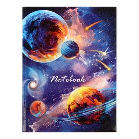 """Записная книжка А6, 48 листов в линейку """"Планеты"""", твёрдая обложка, ламинация голографической плёнкой, блок 65 г/м2"""