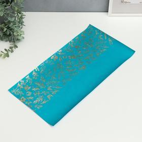 """Отрез кожзама с тиснением """"Golden Branches Turquoise"""" 50х25 см"""