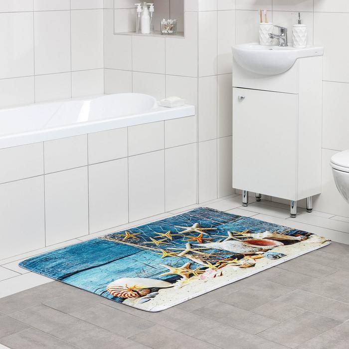 Коврик для ванны «Морские звезды», 80×120 см