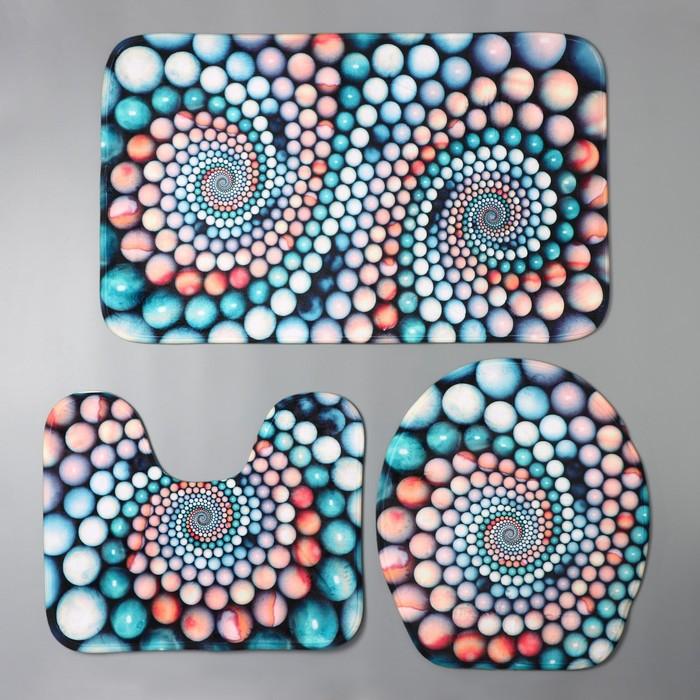 Набор ковриков для ванны и туалета «Каменные завитки», 3 шт: 35×39, 40×50, 45×75 см